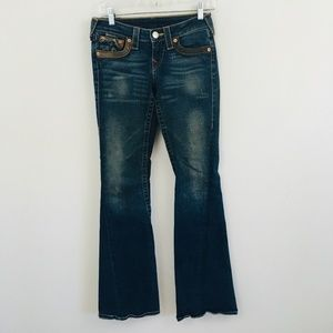 True Religion Joey Flare Leather Pocket Jeans